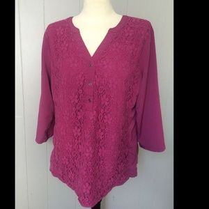 Christopher Banks Pink Lace Tunic 3/4 Sleeve L Top